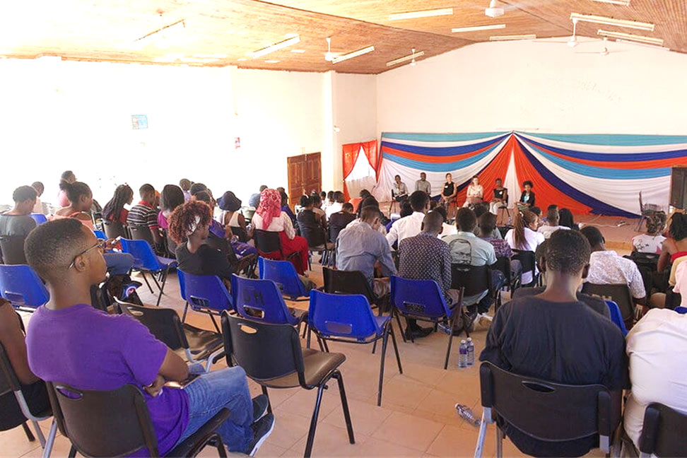 Students during the panel discussion at the Student Symposium on Career Advice