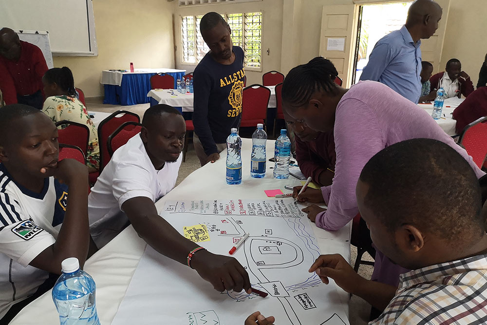 Drawing cause and effect diagrams, a multiple participatory method, produced by participants during the focus group.